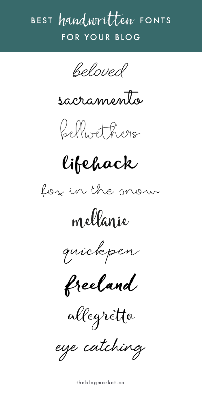 Best Handwritten Fonts for your Blog - The Blog Market