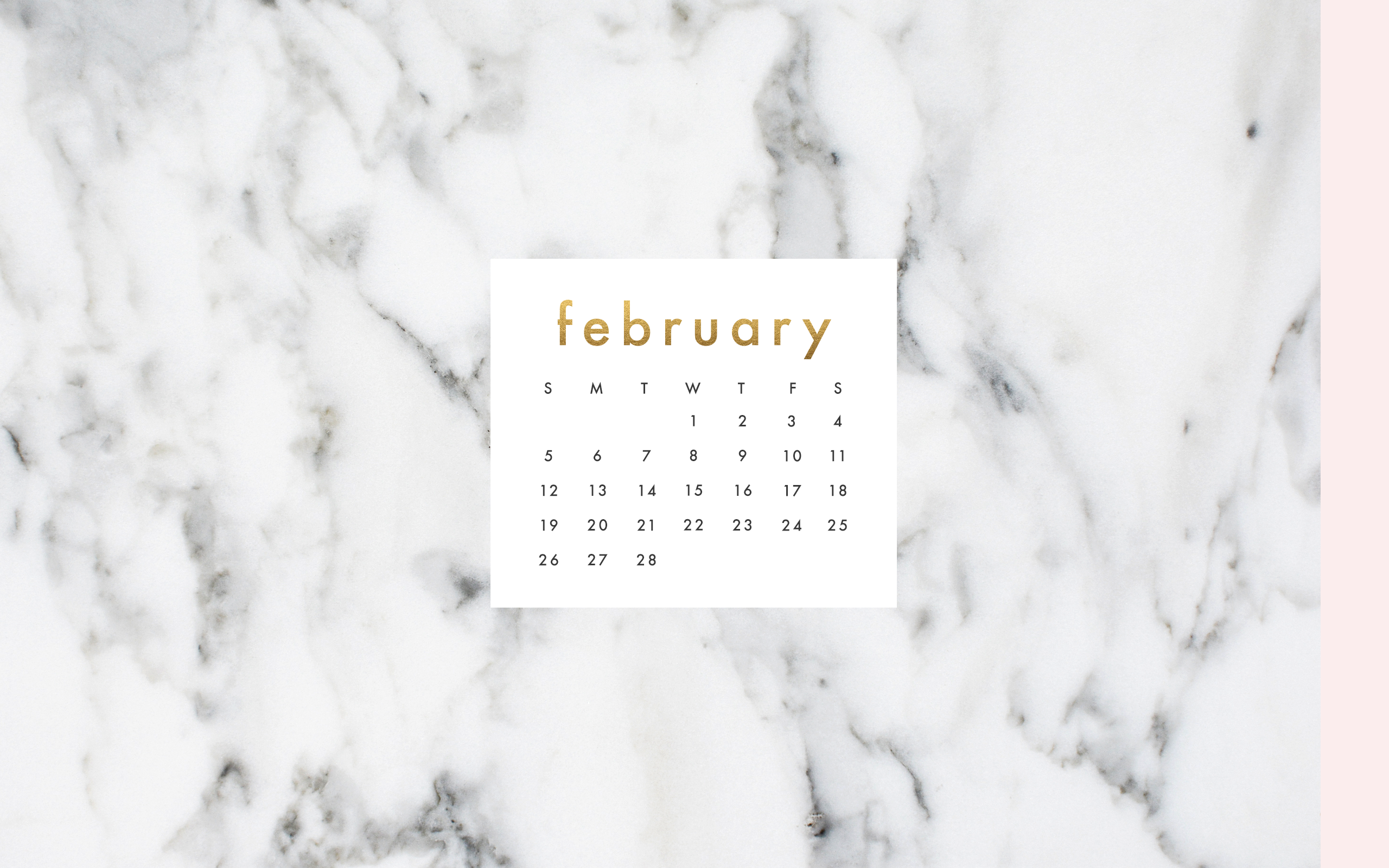 Marble Calendar Wallpaper : Desktop download february calendar