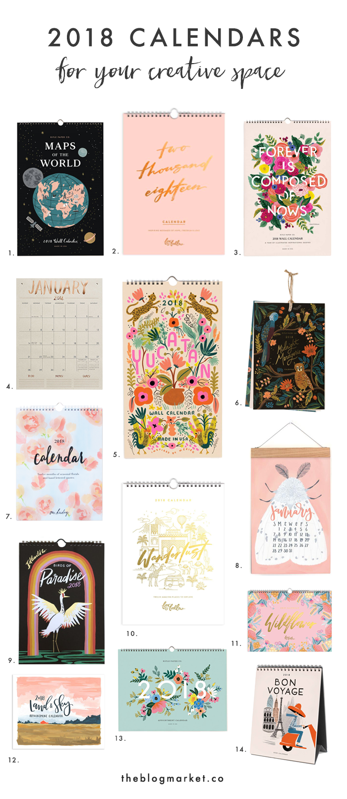 Best 2018 Calendars for your Creative Space | The Blog Market