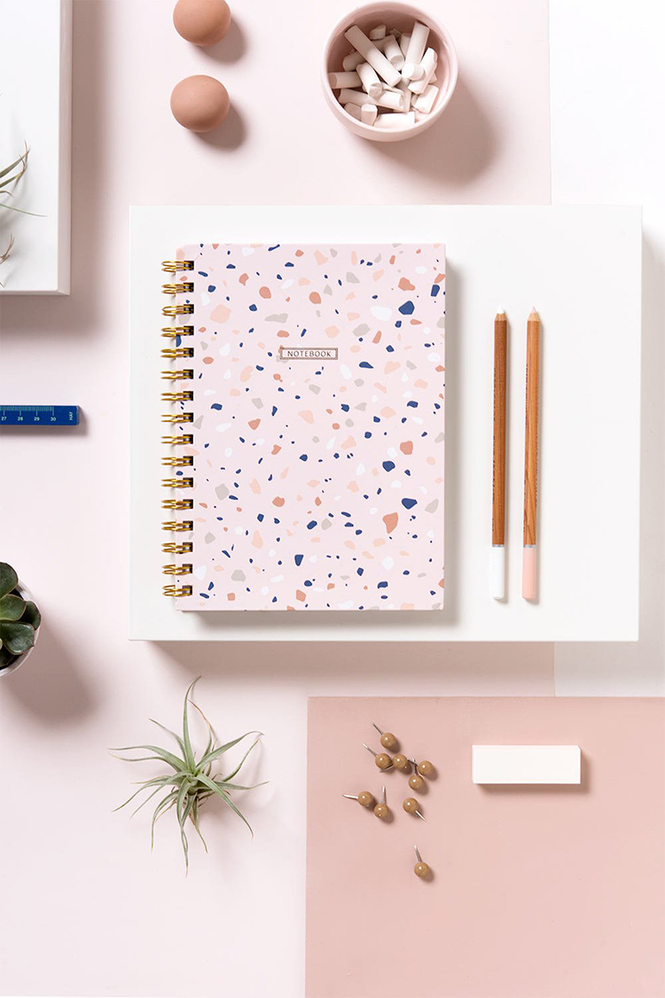 Pink Terrazzo Notebook by Micush via The Blog Market