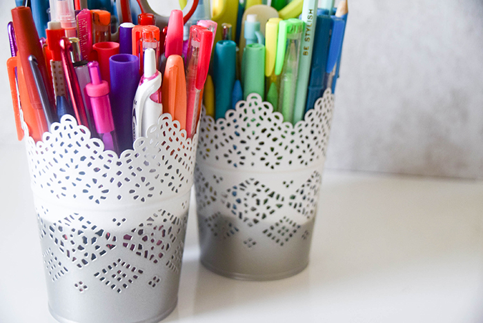 DIY Ikea hack: spray painted pen cups